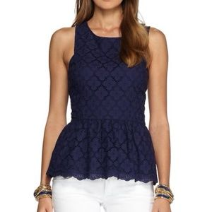 LILLY PULITZER - Doily Lace Peplum Top
